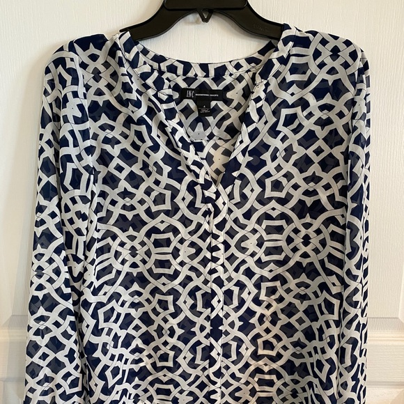 INC International Concepts Tops - INC Long Sleeve Sheer Blouse, 4, Great Condition